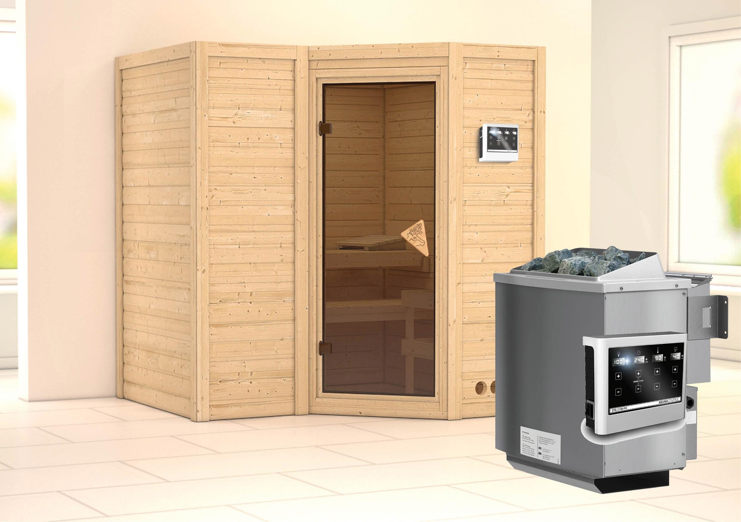 Karibu Sauna Sahib 1 40mm mit Bio Ofen 9kW extern classic Tür Bild 1