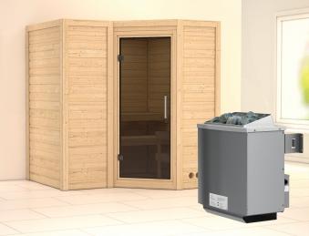 Karibu Sauna Sahib 1 40mm mit Ofen 9kW intern moderne Tür Bild 1