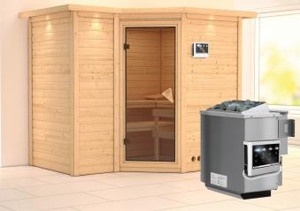 Karibu Sauna Sahib 2 40mm Dachkranz + Bio Ofen 9kW extern classic Tür Bild 1