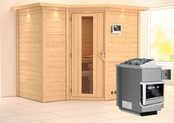 Karibu Sauna Sahib 2 40mm Dachkranz + Ofen 9kW extern Holztür Bild 1