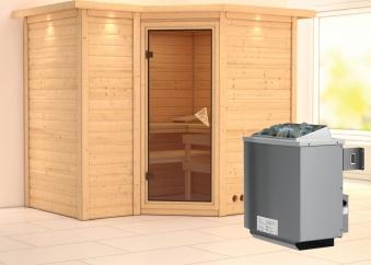 Karibu Sauna Sahib 2 40mm Dachkranz + Ofen 9kW intern classic Tür Bild 1