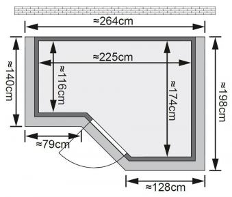 Karibu Sauna Sahib 2 40mm Dachkranz + Ofen 9kW intern classic Tür Bild 2