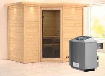 Karibu Sauna Sahib 2 40mm Dachkranz + Ofen 9kW intern moderne Tür Bild 1