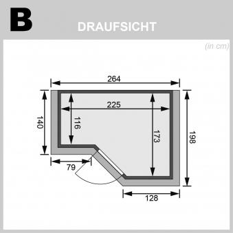 Karibu Sauna Sahib 2 40mm Dachkranz + Ofen 9kW intern moderne Tür Bild 2