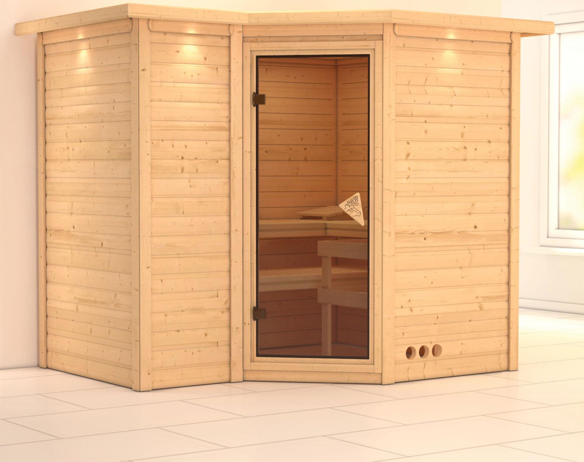 Karibu Sauna Sahib 2 40mm Dachkranz ohne Ofen classic Tür Bild 1