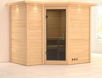 Karibu Sauna Sahib 2 40mm Dachkranz ohne Ofen moderne Tür Bild 1