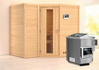 Karibu Sauna Sahib 2 40mm mit Bio Ofen 9kW extern Holztür Bild 1