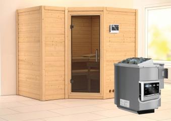 Karibu Sauna Sahib 2 40mm mit Bio Ofen 9kW extern moderne Tür Bild 1
