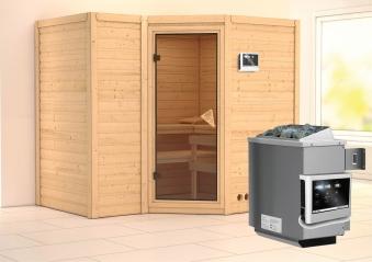Karibu Sauna Sahib 2 40mm mit Ofen 9kW extern classic Tür Bild 1