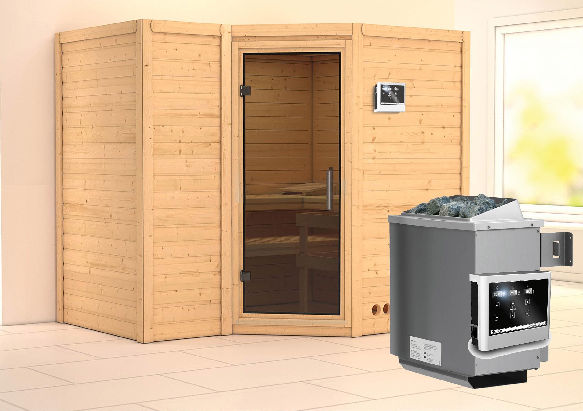 Karibu Sauna Sahib 2 40mm mit Ofen 9kW extern moderne Tür Bild 1