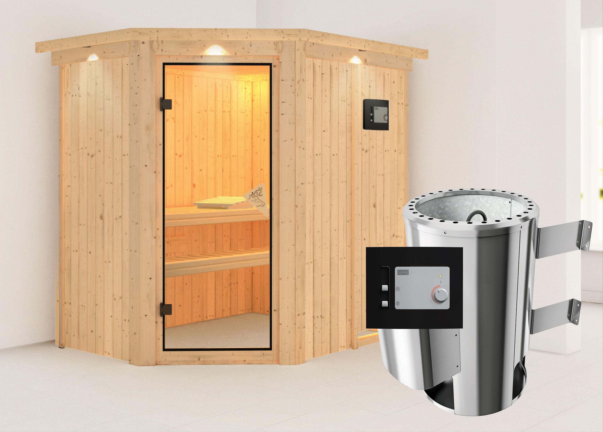 Karibu Sauna Saja 68mm 230V Dachkranz + Ofen 3,6kW extern classic Tür Bild 1