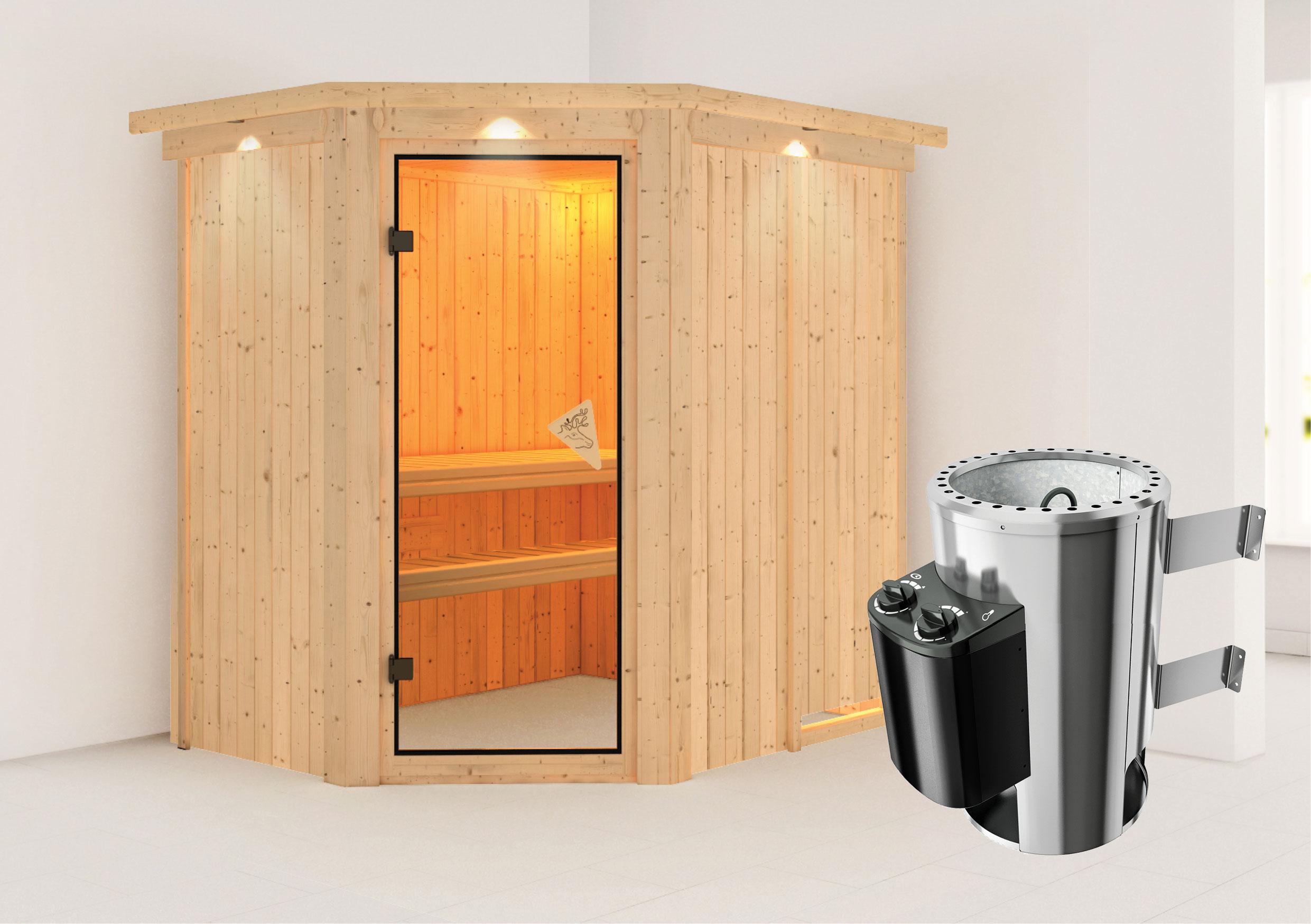 Karibu Sauna Saja 68mm 230V Dachkranz + Ofen 3,6kW intern classic Tür Bild 1