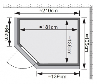Karibu Sauna Saja 68mm 230V Dachkranz + Ofen 3,6kW intern classic Tür Bild 2