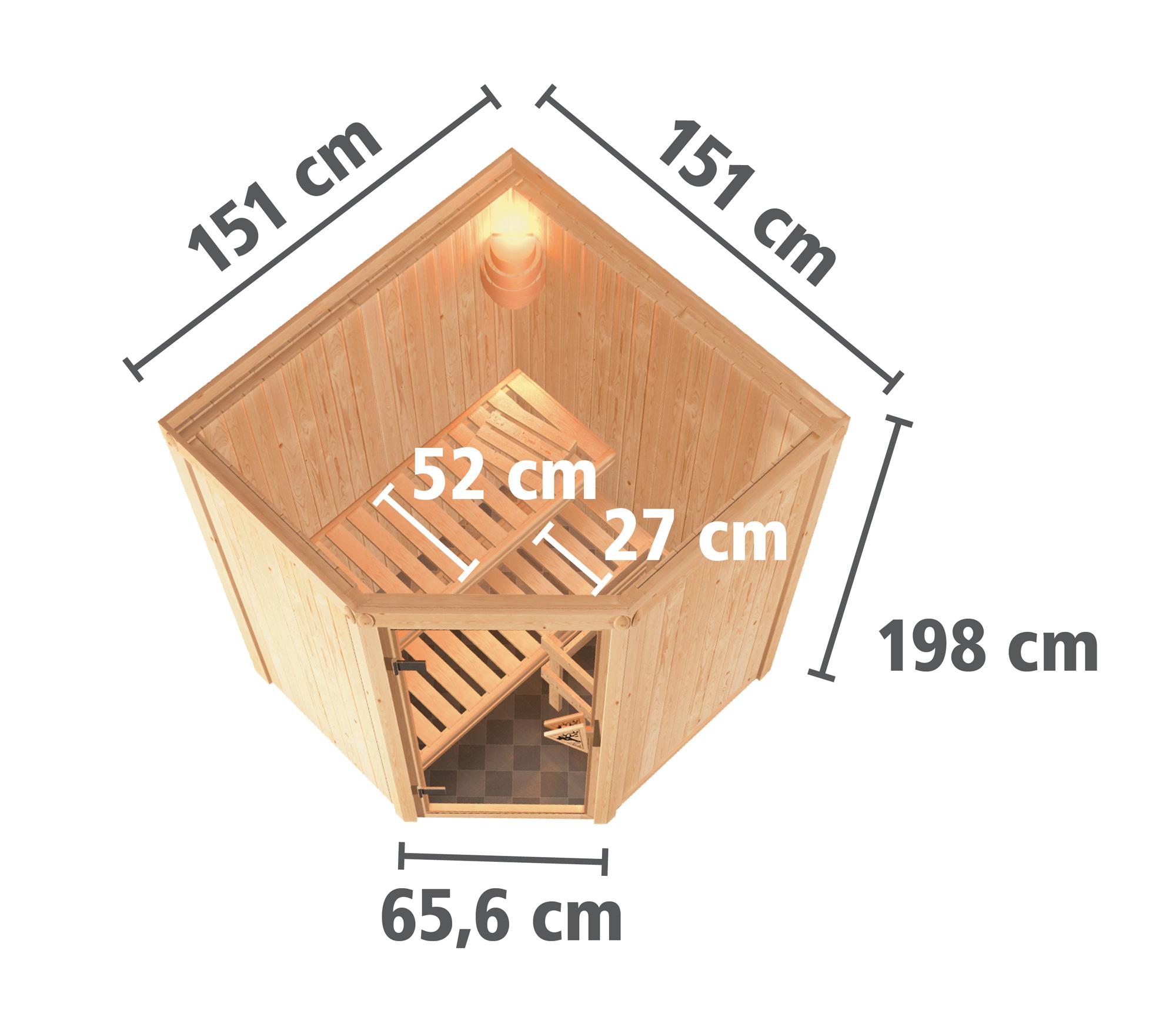 Karibu Sauna Sarina 68mm mit Bio Saunaofen 9kW extern Holztür Aktion Bild 6