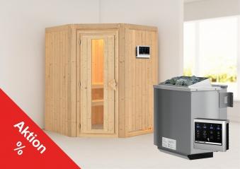 Karibu Sauna Sarina 68mm mit Bio Saunaofen 9kW extern Holztür Aktion Bild 1