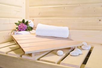 Karibu Sauna Sarina 68mm mit Bio Saunaofen 9kW extern Holztür Aktion Bild 9