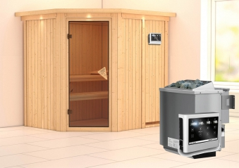 Karibu Sauna Siirin 68mm Dachkranz + Bio Ofen 9kW extern classic Tür Bild 1
