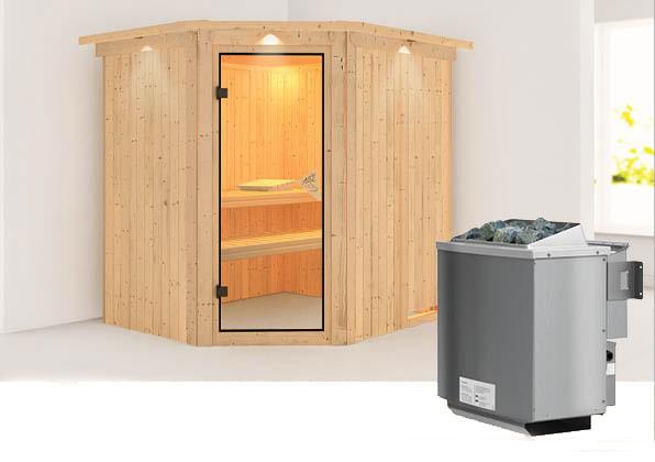 Karibu Sauna Siirin 68mm Dachkranz + Ofen 9kW intern classic Tür Bild 1