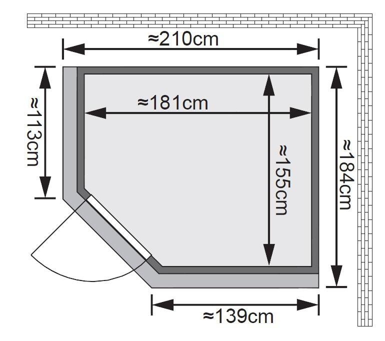 Karibu Sauna Siirin 68mm Dachkranz + Ofen 9kW intern classic Tür Bild 2