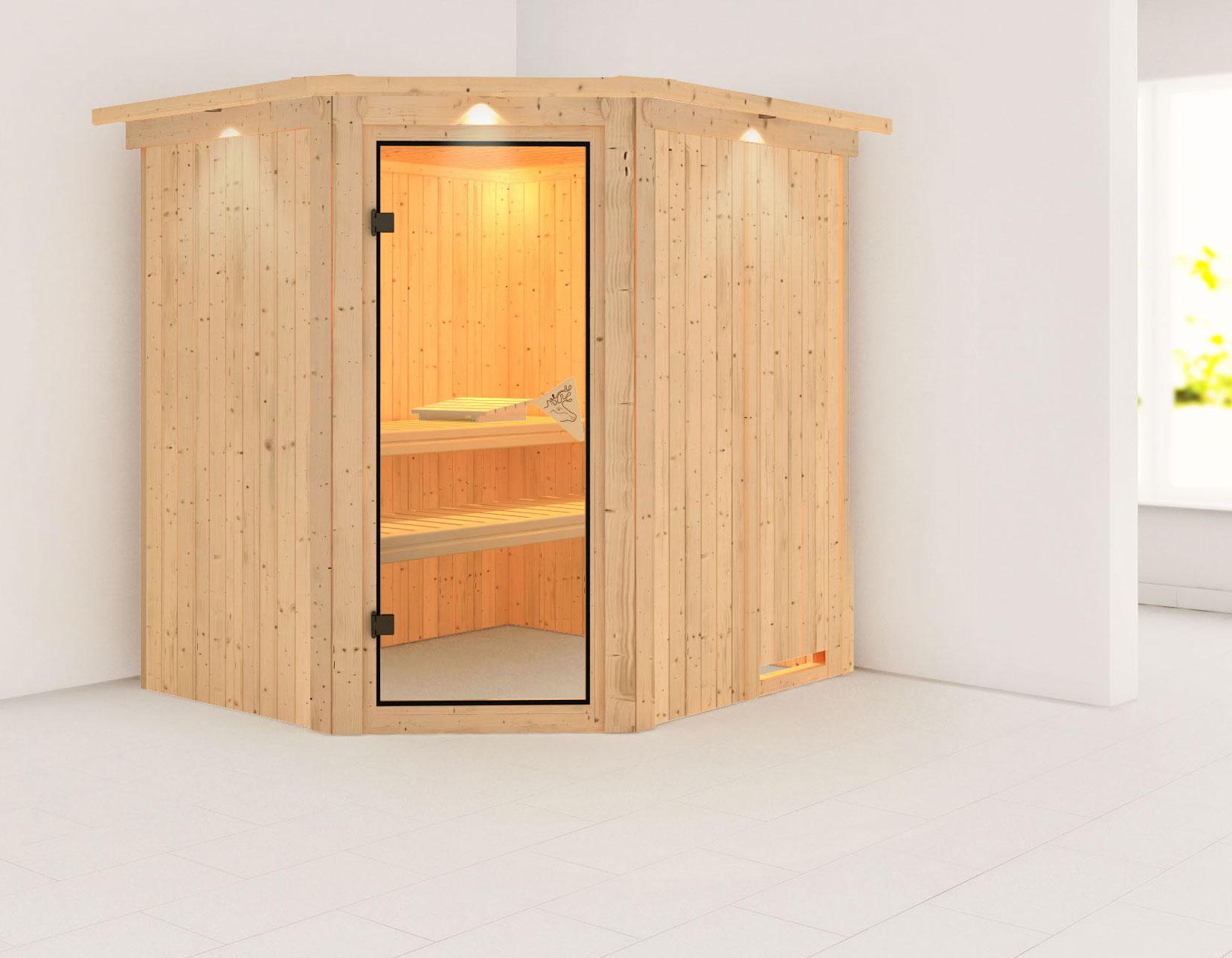 Karibu Sauna Siirin 68mm Dachkranz ohne Ofen classic Tür Bild 1