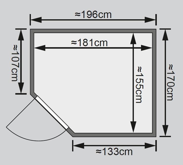 Karibu Sauna Siirin 68mm mit Bio Ofen 9kW extern Holztür Bild 2