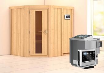 Karibu Sauna Siirin 68mm mit Bio Ofen 9kW extern Holztür Bild 1