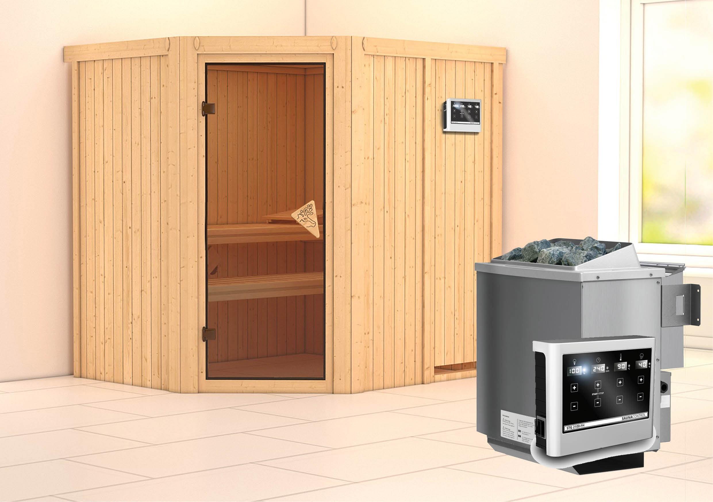 Karibu Sauna Siirin 68mm mit Bio Ofen 9kW extern classic Tür Bild 1
