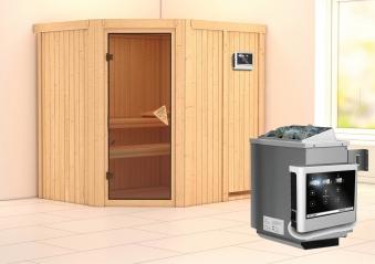Karibu Sauna Siirin 68mm mit Ofen 9kW extern classic Tür Bild 1
