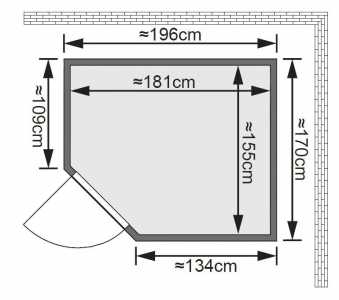 Karibu Sauna Siirin 68mm mit Ofen 9kW extern classic Tür Bild 2