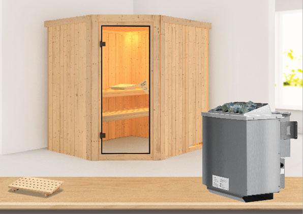 Karibu Sauna Siirin 68mm mit Ofen 9kW intern classic Tür Bild 1