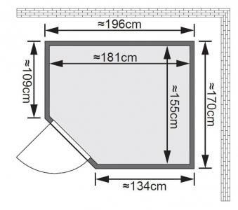 Karibu Sauna Siirin 68mm mit Ofen 9kW intern classic Tür Bild 2