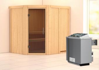 Karibu Sauna Siirin 68mm mit Ofen 9kW intern moderne Tür Bild 1
