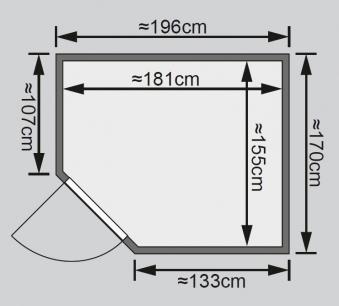 Karibu Sauna Siirin 68mm mit Ofen 9kW intern moderne Tür Bild 2