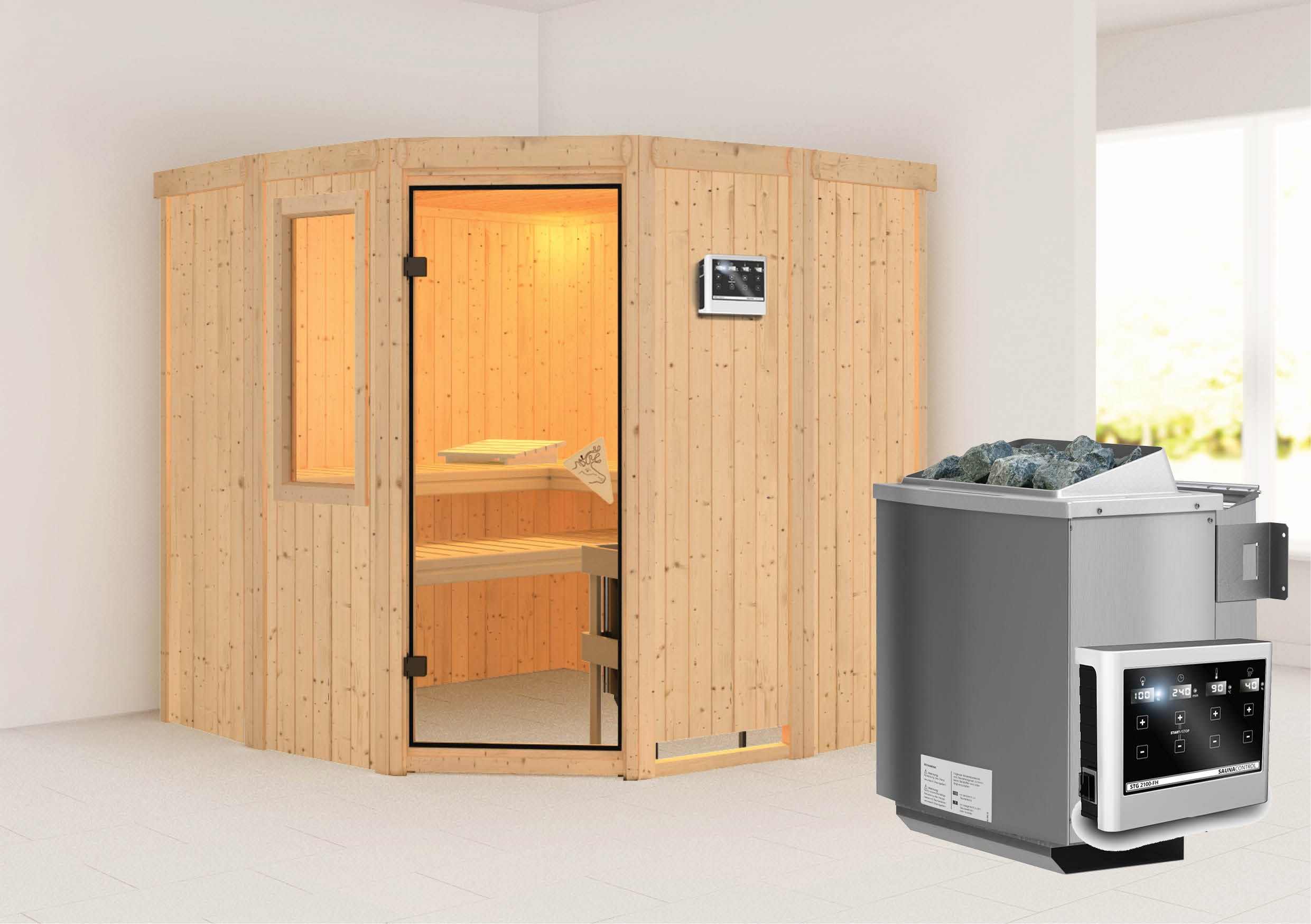 Karibu Sauna Simara 1 68mm Fenster + Bio Ofen 9kW extern classic Tür Bild 1