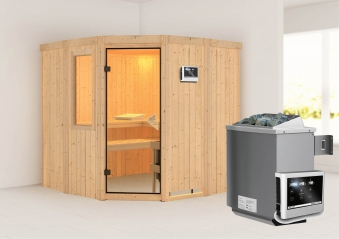 Karibu Sauna Simara 1 68mm Fenster + Ofen 9kW extern classic Tür Bild 1
