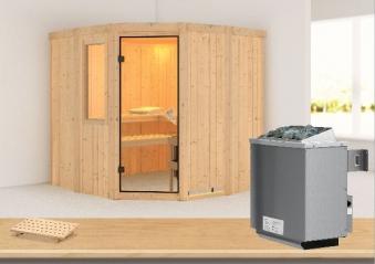 Karibu Sauna Simara 1 68mm Fenster + Ofen 9kW intern classic Tür Bild 1
