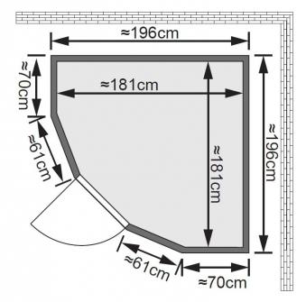 Karibu Sauna Simara 1 68mm Fenster + Ofen 9kW intern classic Tür Bild 2