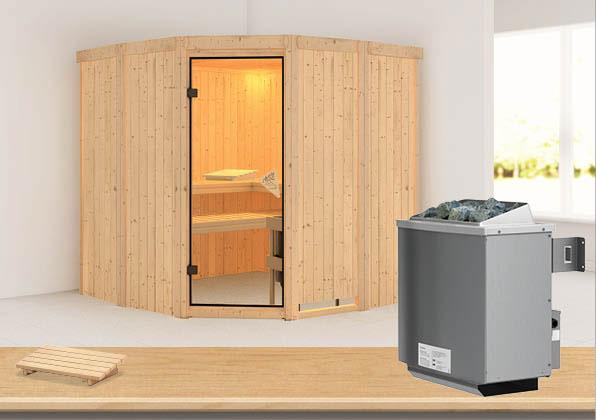 Karibu Sauna Simara 1 68mm mit Ofen 9kW intern classic Tür Bild 1