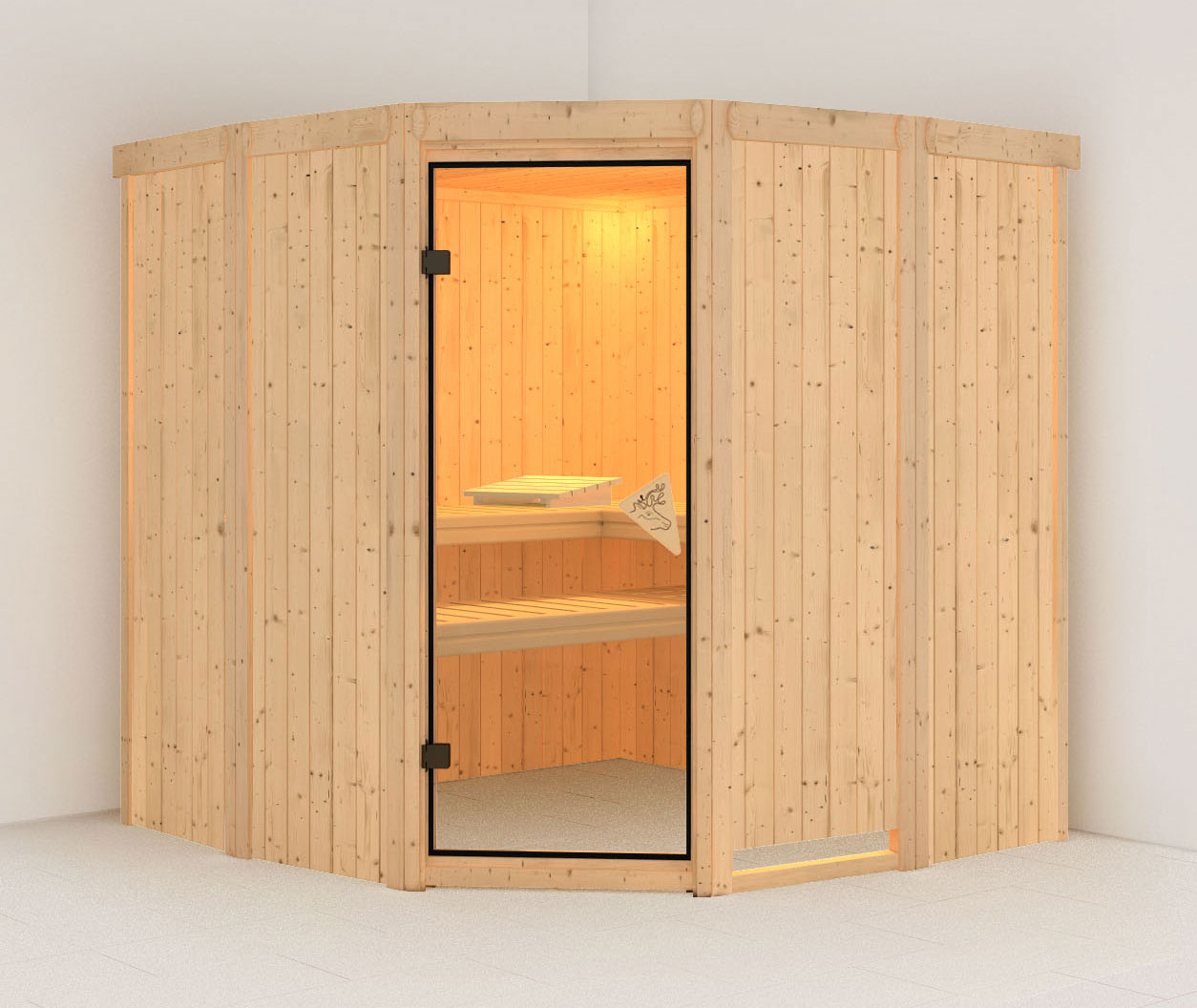 Karibu Sauna Simara 1 68mm ohne Ofen classic Tür Bild 1