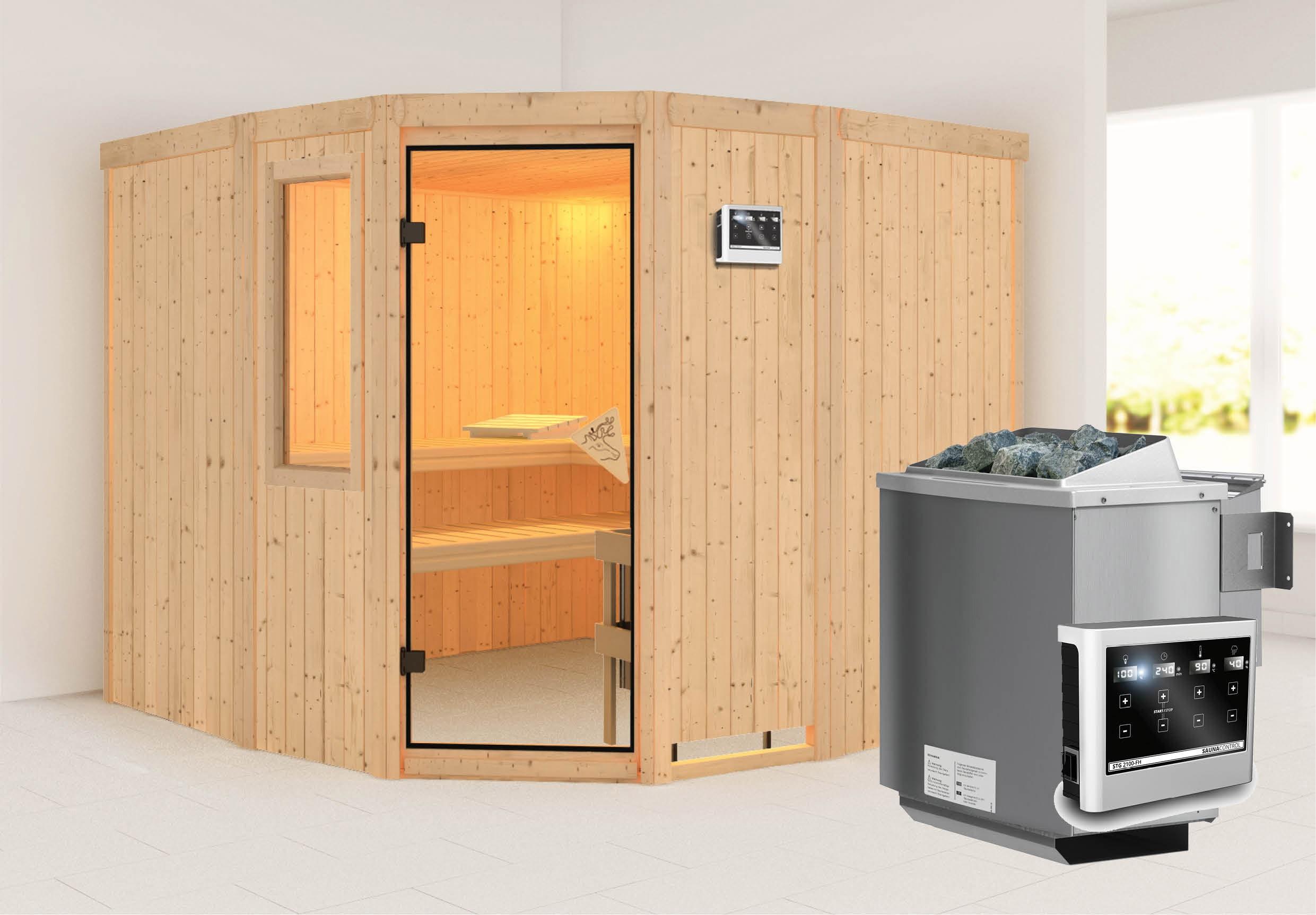 Karibu Sauna Simara3 68mm Fenster + Bio Ofen 9kW extern classic Tür Bild 1