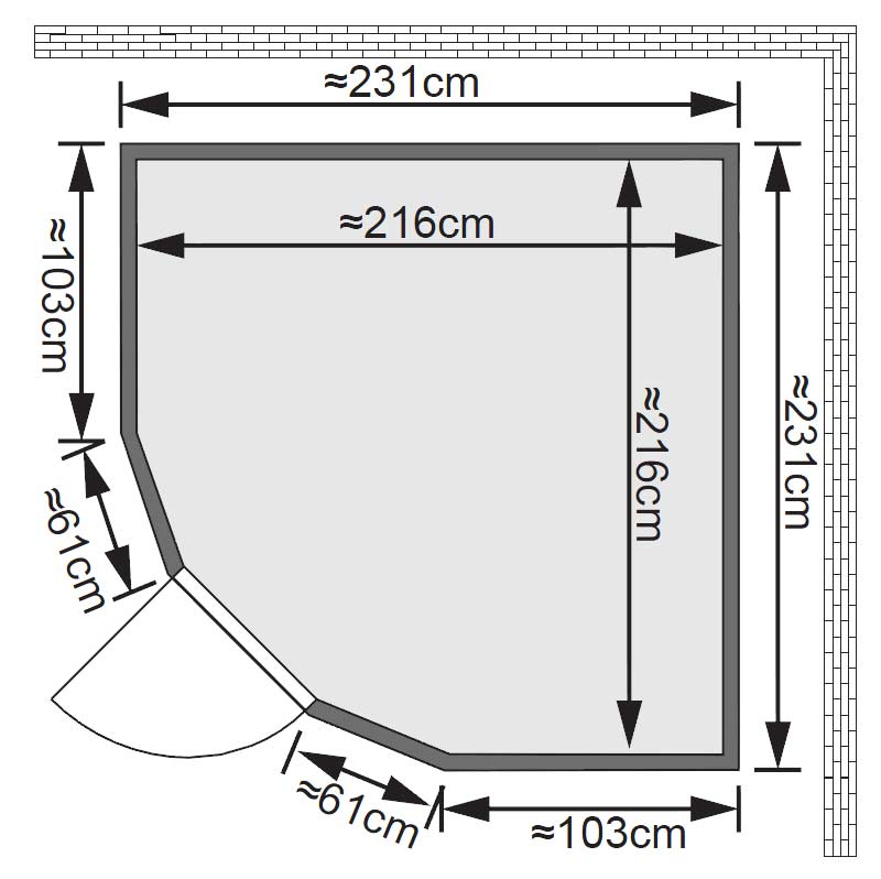 Karibu Sauna Simara3 68mm Fenster + Bio Ofen 9kW extern classic Tür Bild 2
