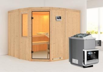 Karibu Sauna Simara3 68mm Fenster + Ofen 9kW extern classic Tür Bild 1