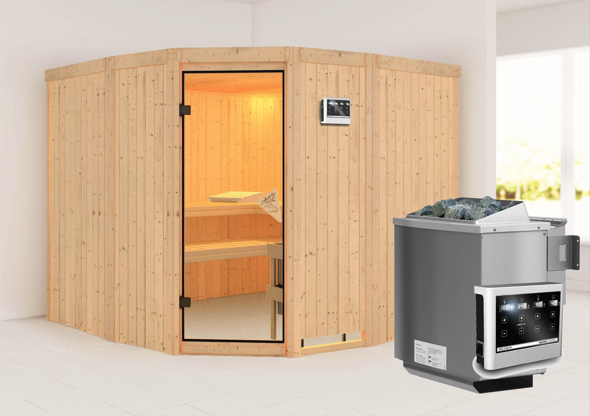 Karibu Sauna Simara3 68mm mit Bio Ofen 9kW extern classic Tür Bild 1