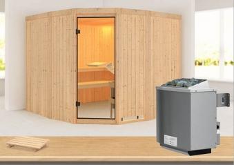Karibu Sauna Simara3 68mm mit Ofen 9kW intern classic Tür Bild 1