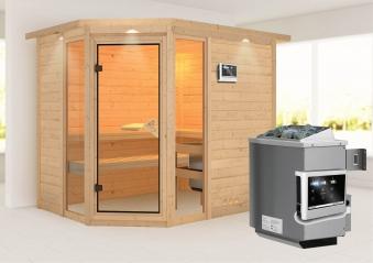 Karibu Sauna Sinai 3 40mm Dachkranz + Ofen 9kW extern classic Tür Bild 1