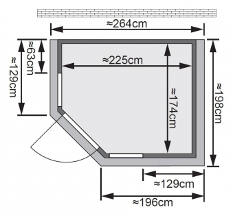 Karibu Sauna Sinai 3 40mm Dachkranz + Ofen 9kW extern classic Tür Bild 2