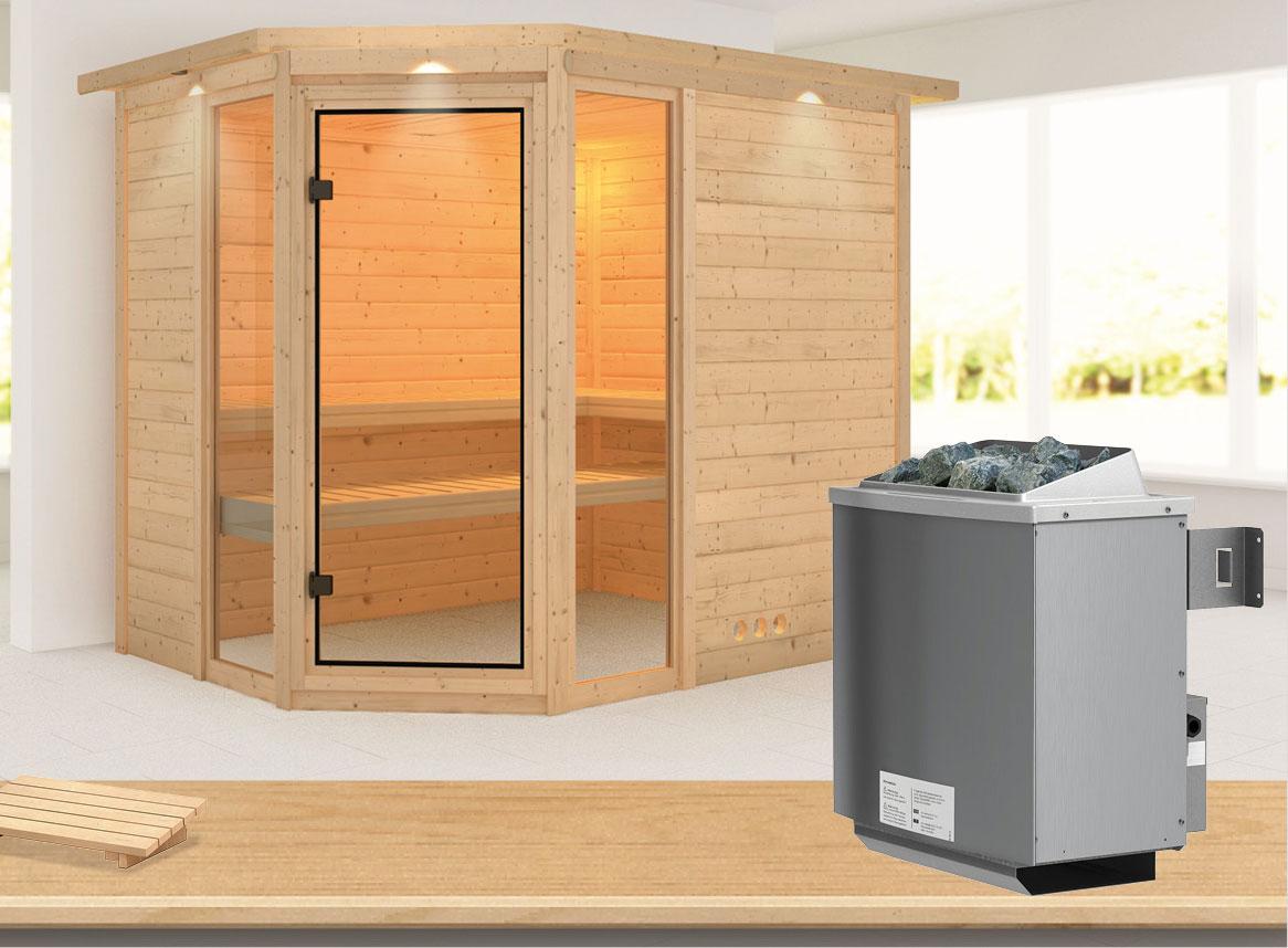 Karibu Sauna Sinai 3 40mm Dachkranz + Ofen 9kW intern classic Tür Bild 1