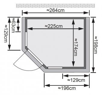 Karibu Sauna Sinai 3 40mm Dachkranz + Ofen 9kW intern classic Tür Bild 2