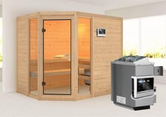karibu sauna sinai3 40mm mit ofen 9kw extern classic t r bei. Black Bedroom Furniture Sets. Home Design Ideas