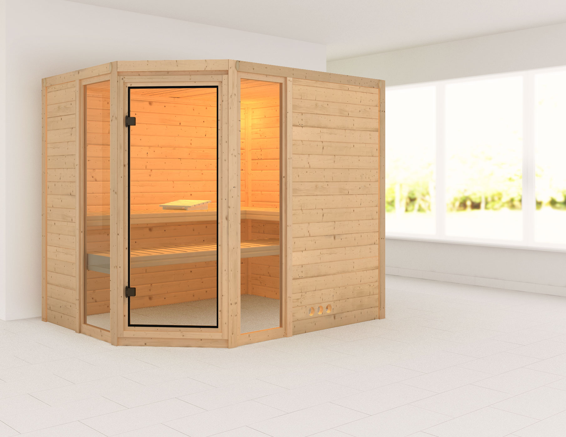 Karibu Sauna Sinai 3 40mm ohne Ofen classic Tür Bild 1